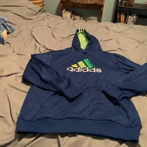 ADIDAS BOY'S BLUE & GREEN HOODIE. SIZE LARGE